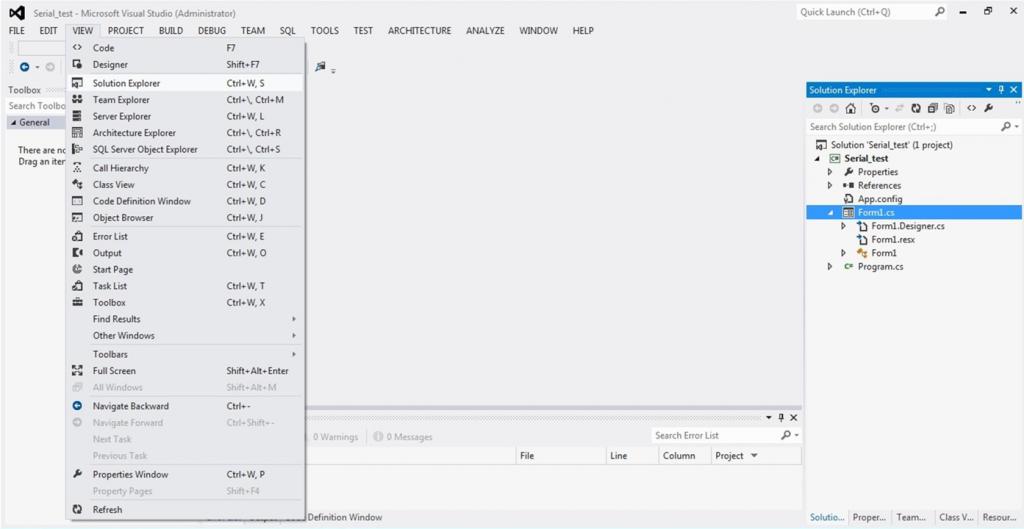 تصویر (5) باز کردن پنجره Solution Explorer از منوی VIEW